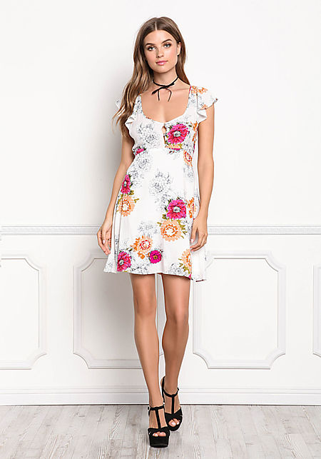 Multi Floral Print Open Back Shift Dress