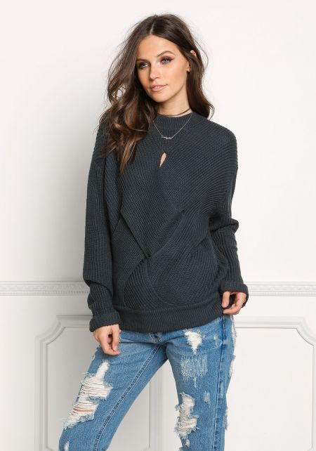 Hunter Green Cross Over Cut Out Sweater Top