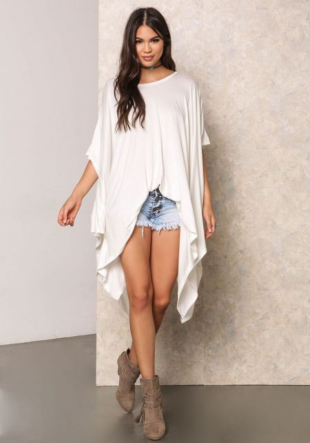 Off White Lustrous Jersey Knit Pointed Top