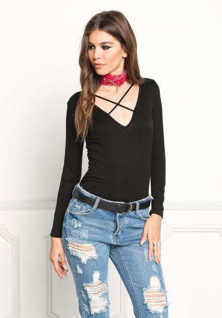 Black Cross Strap Long Sleeve Top