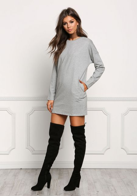 Heather Grey Long Sleeve Pocket Shift Dress