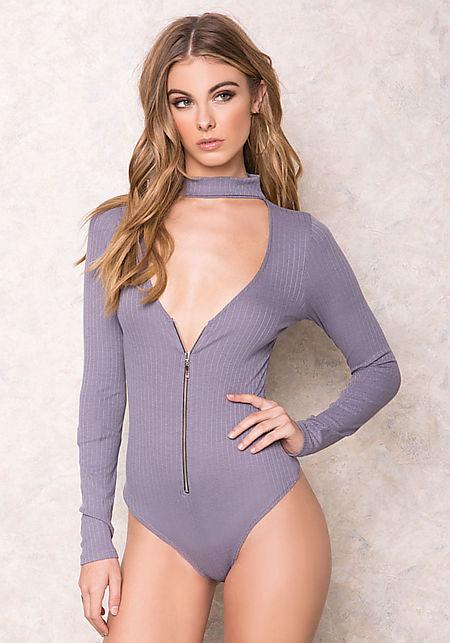 Grey Zip Up Ribbed Neck Bodysuit