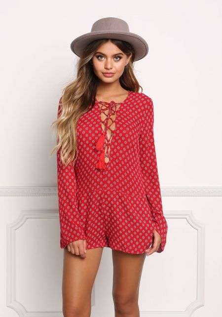 Red Gauze Lace Up Printed Romper