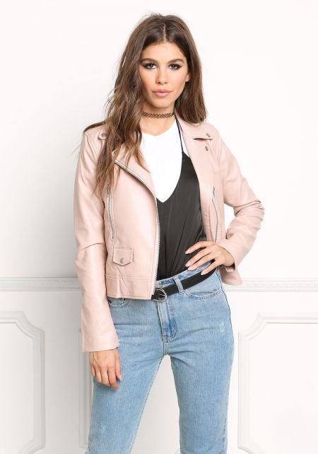 Blush Leatherette Moto Jacket