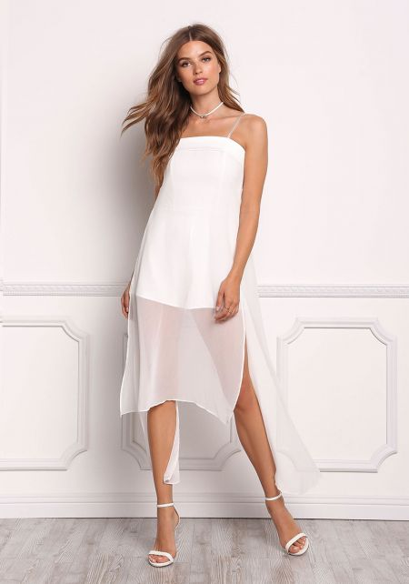 Off White Strapless Chiffon Slit Layered Romper