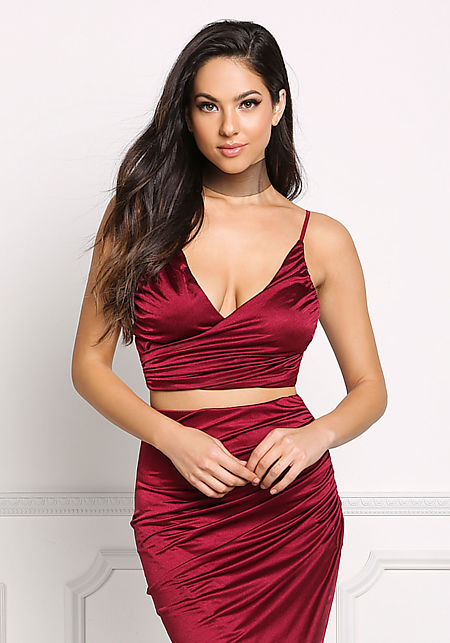 Wine Ruched Faux Wrap Crop Top