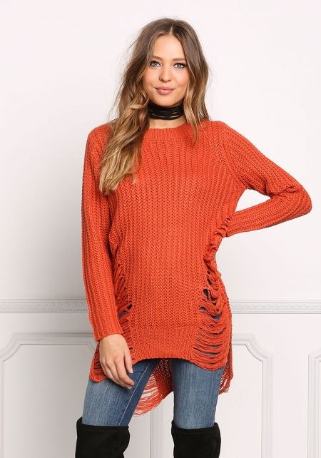 Rust Frayed Chunky Knit Tunic Top