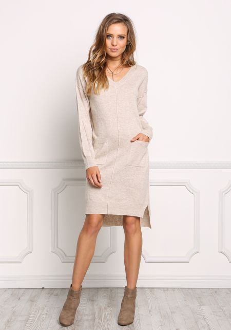Oatmeal Soft Knit Pocket Shift Dress