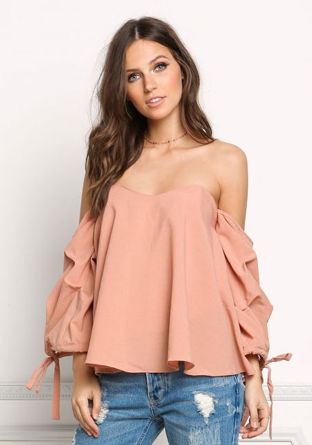 Blush Off Shoulder Ruched Sleeve Blouse