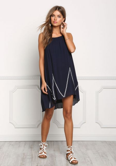 Navy Crepe Embroidered Hi-Lo Dress