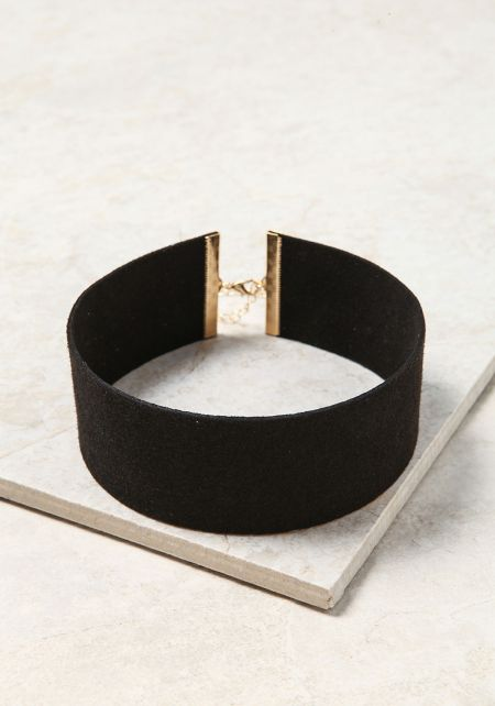 Black Thick Suedette Choker
