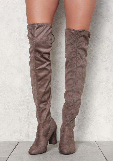 Taupe Over The Knee Suedette Boots