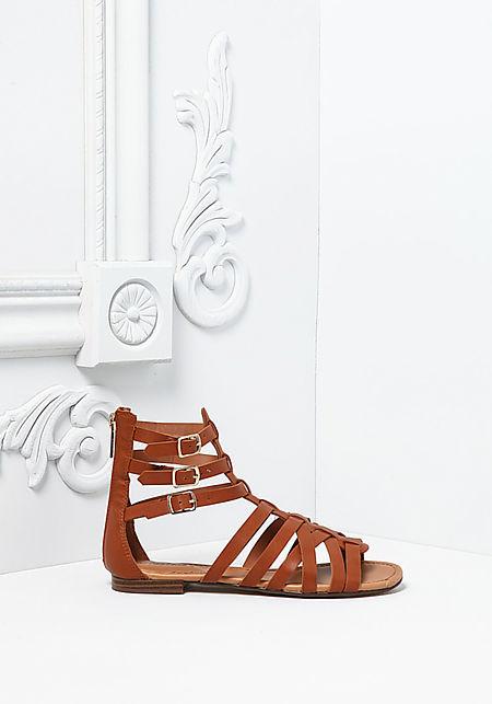 Tan Leatherette Cross Strap Gladiator Sandals