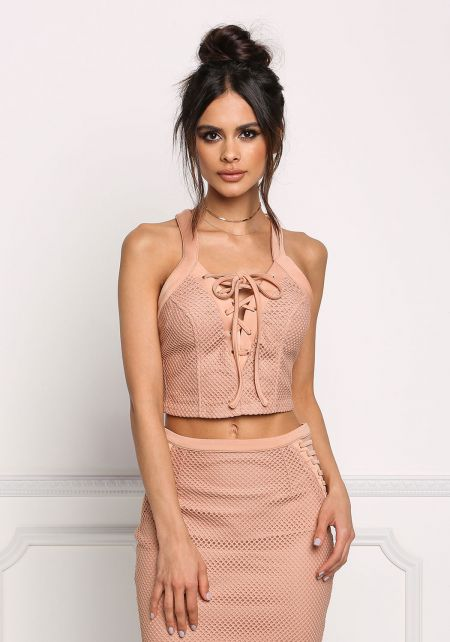 Blush Mesh Net Lace Up Crop Top