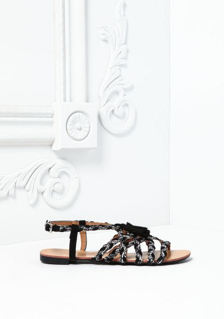Black And White Braided Sandals