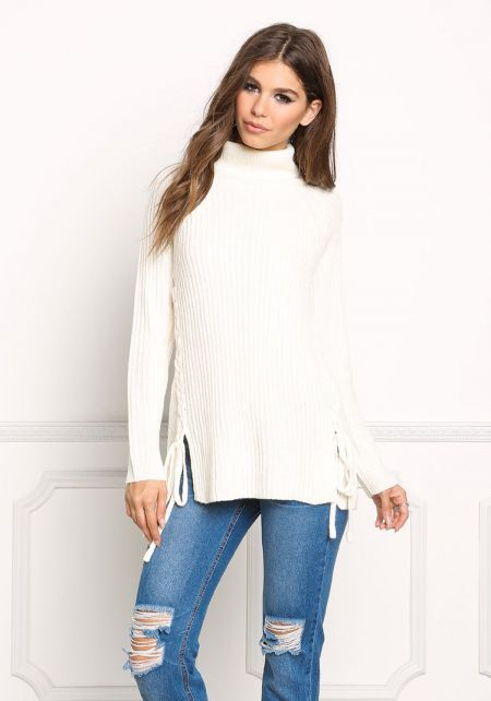 Cream Lace Up Sweater Top