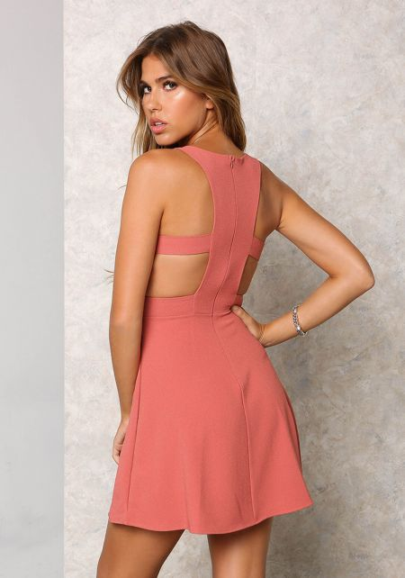 Brick Racerback Cut Out Flare Dress