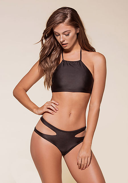 Black Halter Cut Out Bikini Set