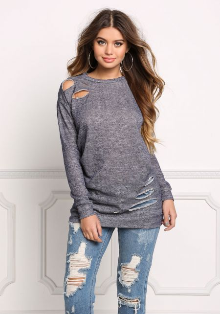 Denim Distressed Marled Tunic Sweater Top