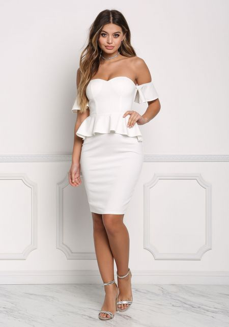 Off White Off Shoulder Peplum Bodycon Dress