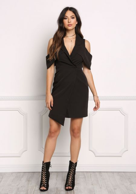Black Tuxedo Cold Shoulder Wrap Dress