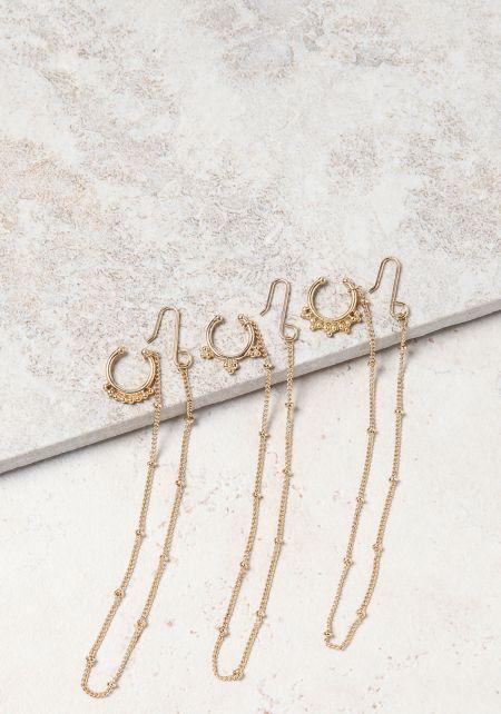 Gold Septum Nose Ring Earring Set