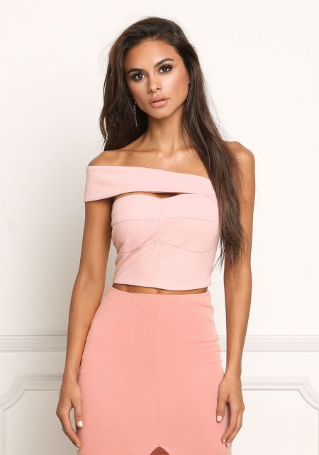 Blush Bardot Cut Out Crop Top