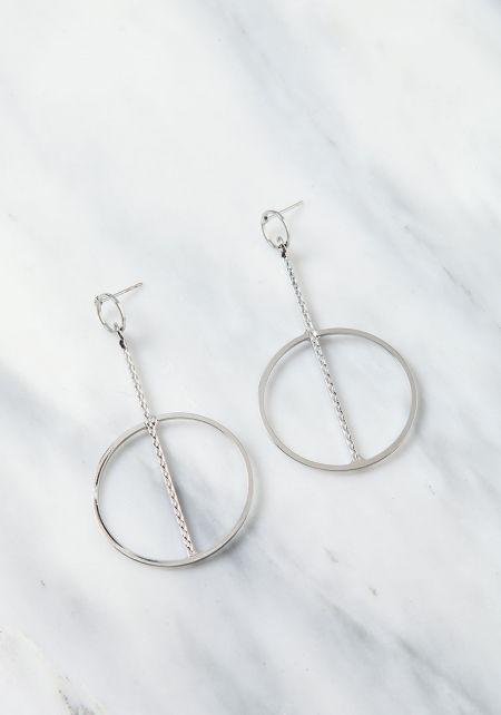 Silver Engraved Double Hoop Earrings