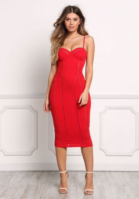 Red Bustier Mesh Trim Bodycon Dress
