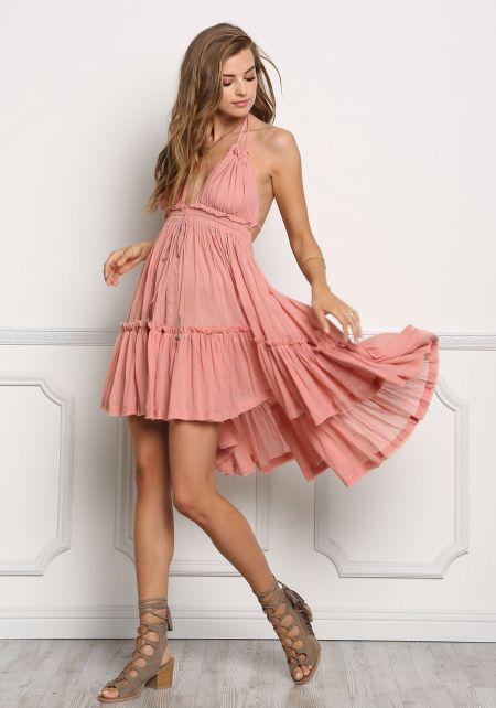 Dusty Pink Crepe Hi-Lo Open Back Dress