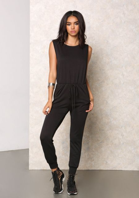 Black Jersey Knit Scooped Jumpsuit