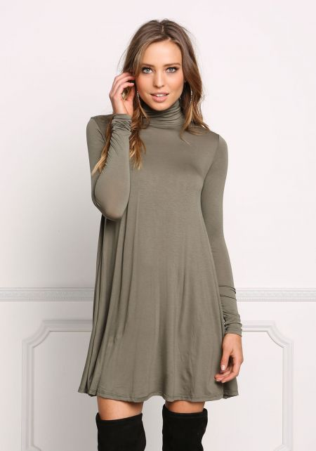 Olive Jersey Knit Turtleneck Shift Dress