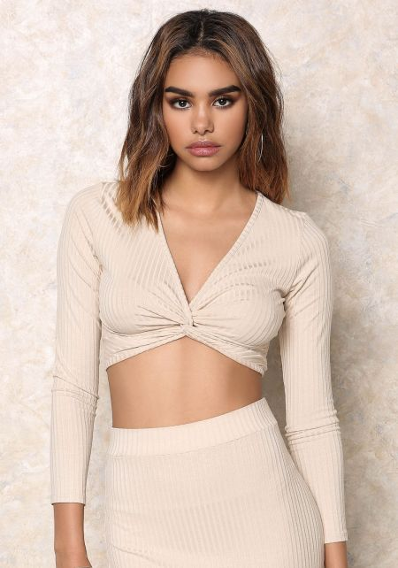 Sand Twisted Front Ribbed Crop Top