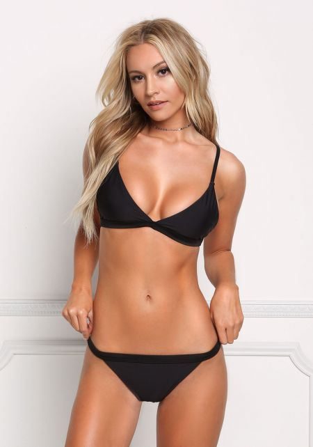 Black Low Rise Triangle Swimsuit Bikini Bottom