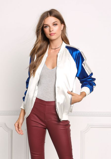 Royal Blue Two Tone Satin Bomber Jacket