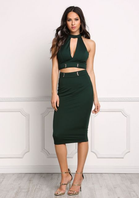 Hunter Green Plunge Cut Cinched Crop Top