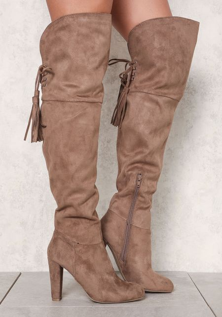 Taupe Suedette Thigh High Tassel Strap Boots