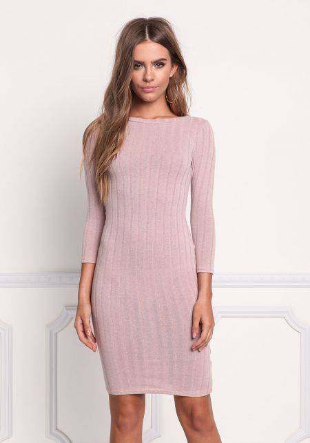 Blush Minimalist Ribbed Knit Bodycon Dress