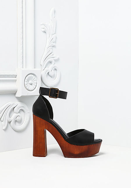 Black Leatherette Ankle Strap Clogs