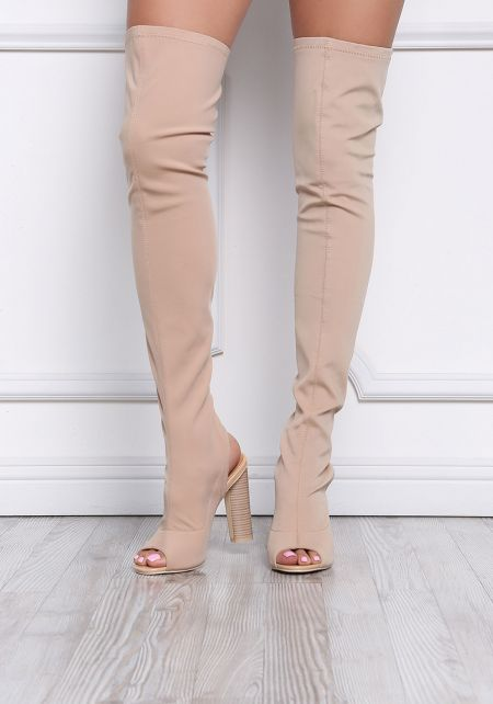 Nude Cut Out Thigh High Boots