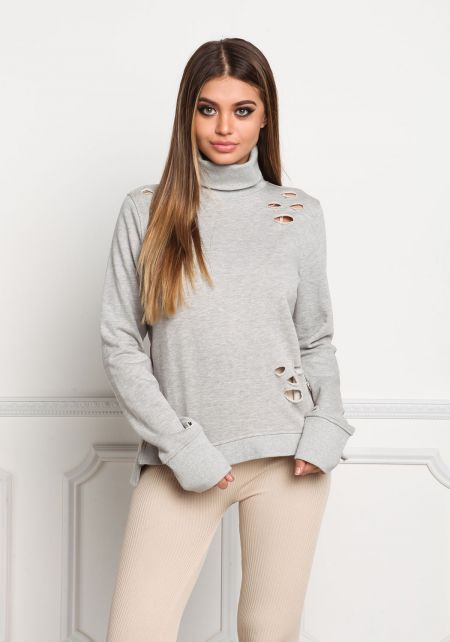 Heather Grey Distressed Turtleneck Sweater Top