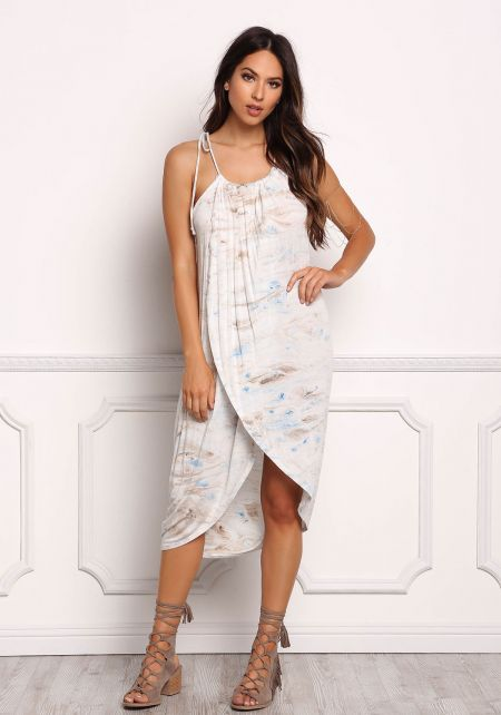 Multi Swirl Print Faux Wrap Tank Dress