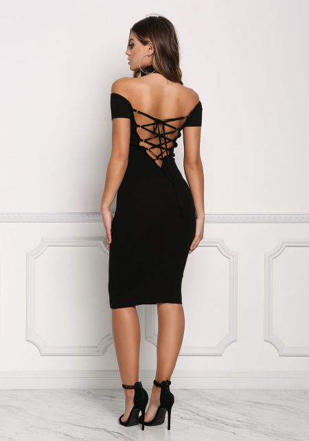 Black Lace Up Back Off Shoulder Bodycon Dress