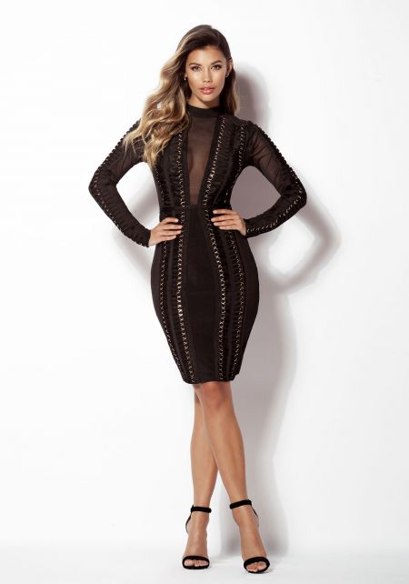 Black Mesh Multi Strap Bandage Bodycon Dress