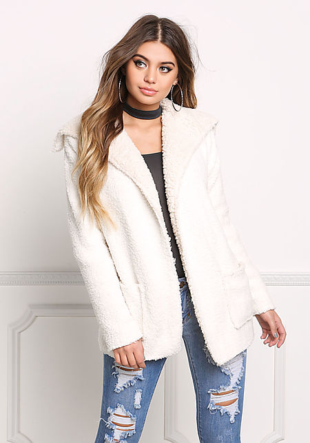 Off White Faux Shearling Jacket