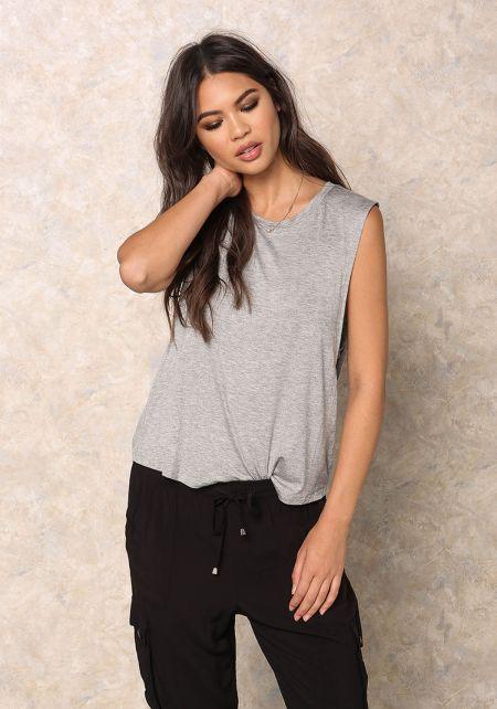 Heather Grey Jersey Knit Scoop X Strap Tank Top