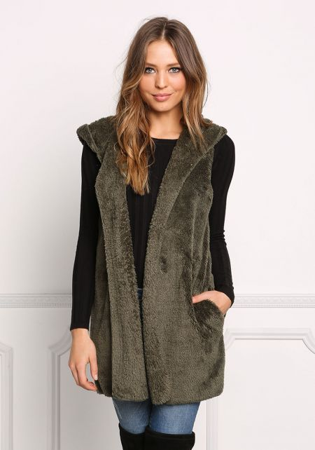 Olive Soft Faux Fur Hooded Vest