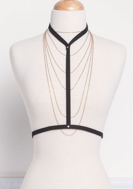 Gold and Black Thin Chain & Harness Body Chain Set