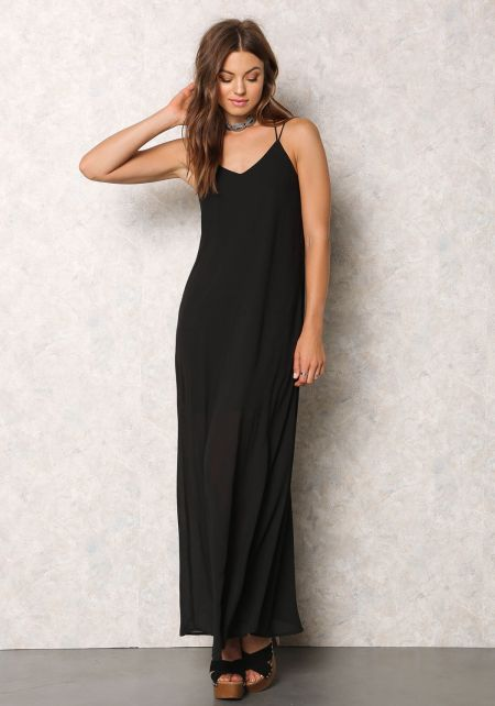 Black Chiffon Caged Maxi Dress