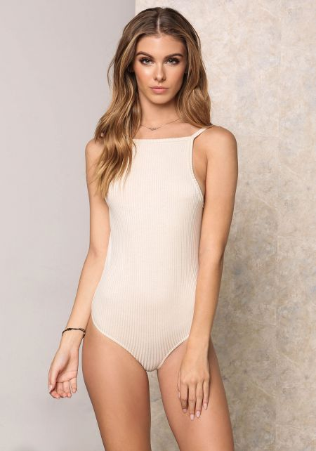 Taupe Low Back Ribbed Knit Bodysuit